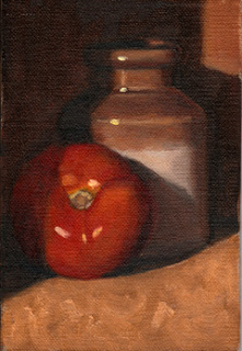 Oil painting of a tomato in front of a small earthenware jar.