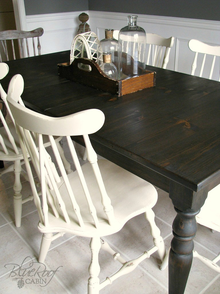 Blue roof cabin custom dark stained farm table for Dark kitchen table