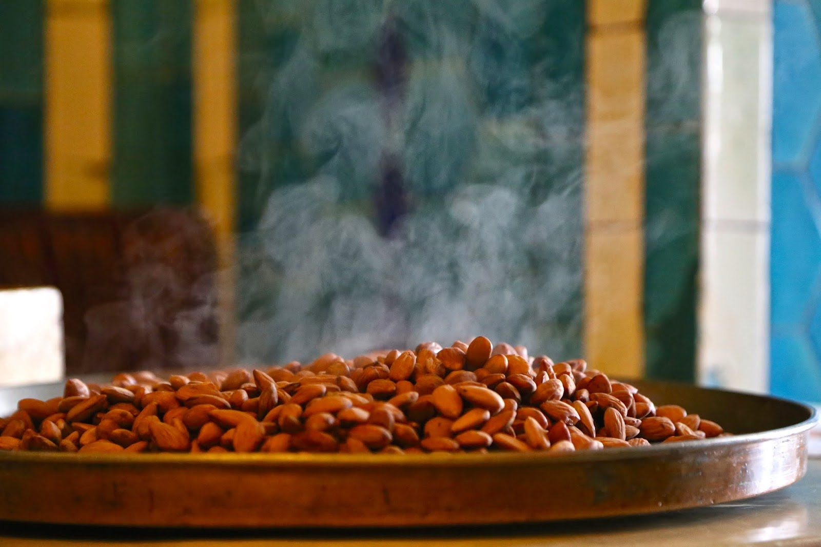 steaming almonds, pandeli, istanbul