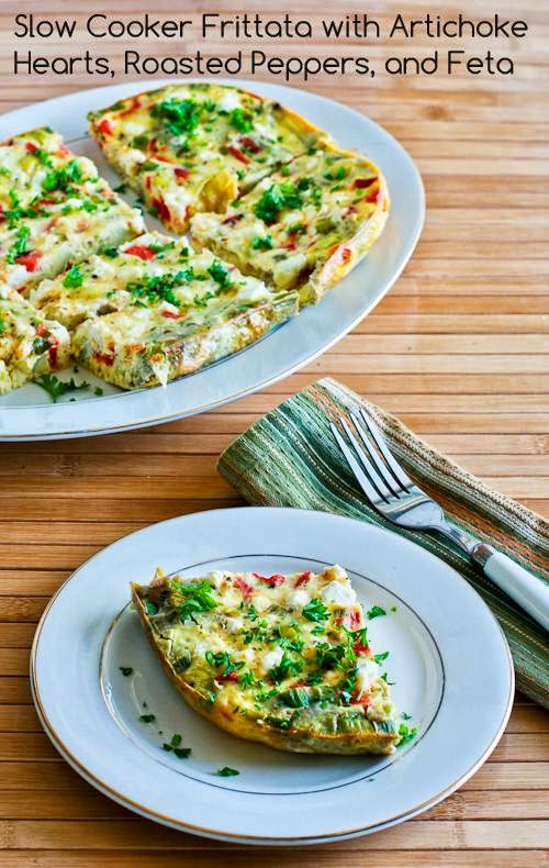 Slow Cooker Frittata with Artichoke Hearts, Roasted Peppers, and Feta