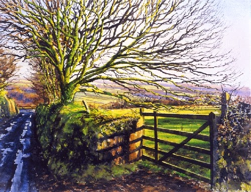 18-Tree-Gate-Joe-Francis-Dowden-Photo-Realistic-Watercolour-Paintings-www-designstack-co