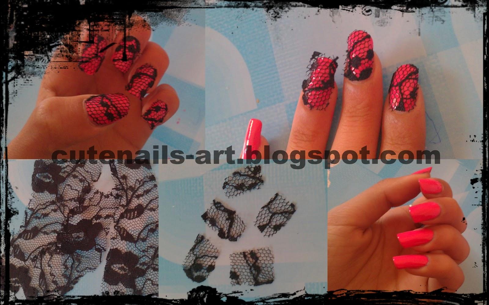 cutenails-art: Real Lace Nail Art step by step
