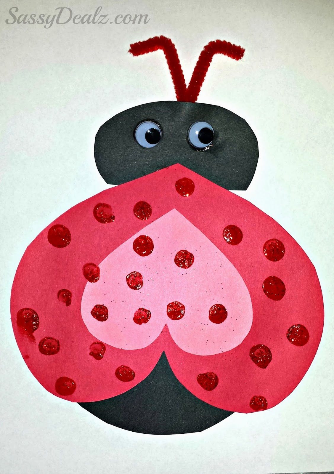 Valentine love bug craft - Heart Ladybug Valentines Day Card