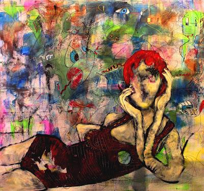 """I'm With Them"" Acrylic, Ink & Pastel on Canvas by Penelope Przekop"