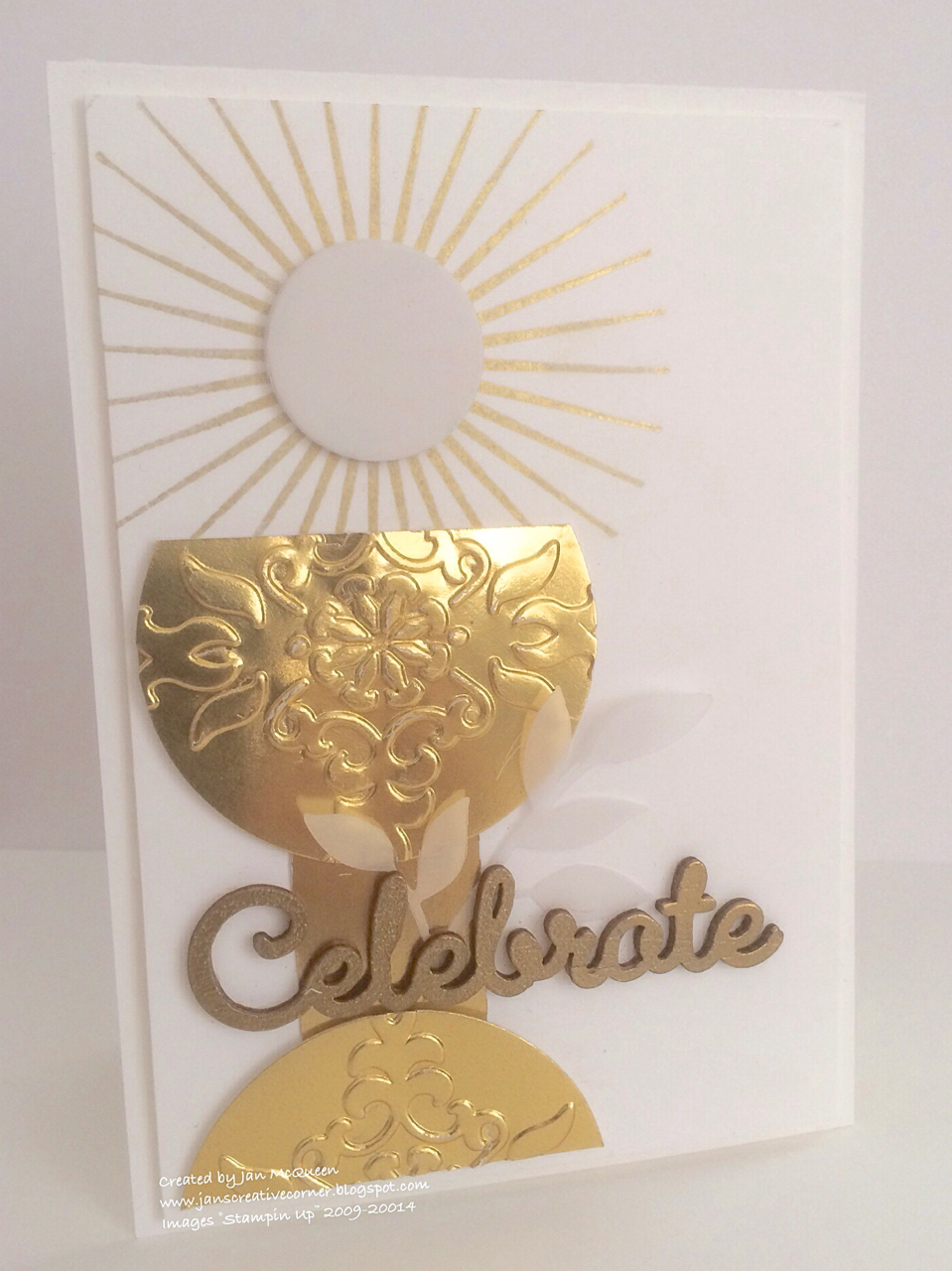 Jans creative corner first communion card and gift bag i loved the way barbara used the gold foil to create her chalice so i used the retired vintage vogue ef and the circle framelits for mine kristyandbryce Choice Image