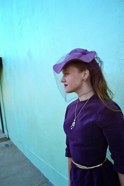 Flashback Summer: Lady in Purple - 1960s 1950s dress/ 1940s tilt hat/ vintage outfit