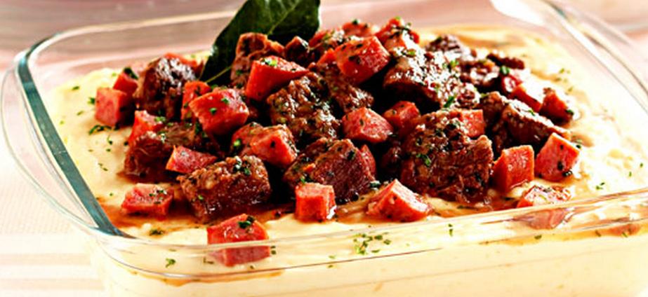 Picadinho de carne com creme de mandioca light
