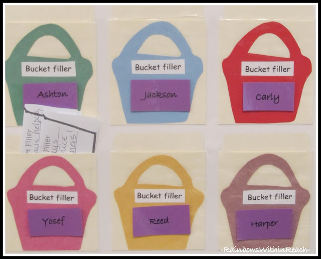 photo of: Bucket Filler Chart by Individual Student's First Name
