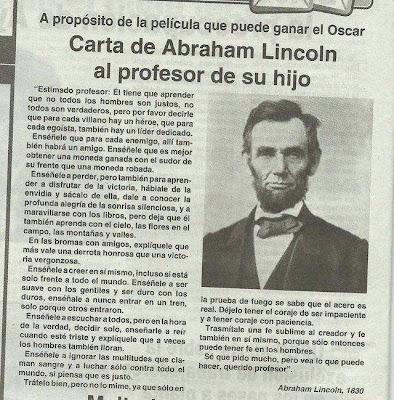 Carta de Abraham Lincoln al maestro de su hijo