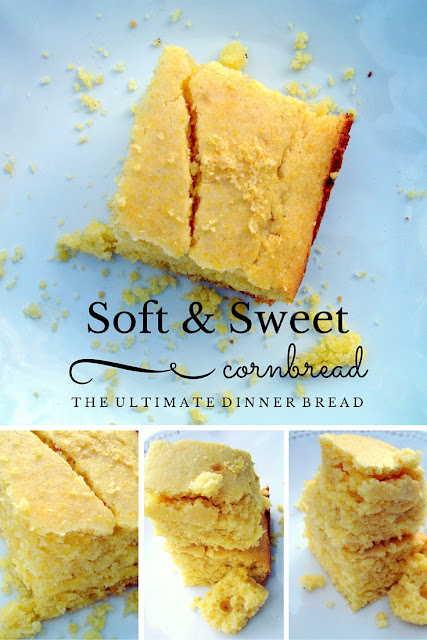 Soft and Sweet Cornbread the Ultimate Dinner Bread. Perfect for all your soups and stews - even with taco meat. Heaven is Smiling Above heavenissmilingabove.blogspot.com #cornbread #dinner #side #bread