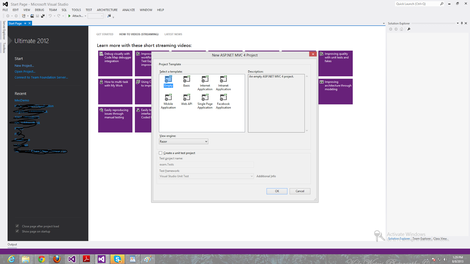 how to use mvc in visual studio 2012