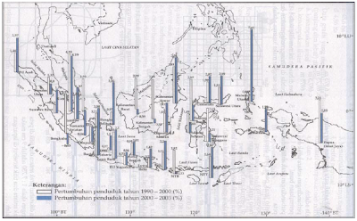 Peta pertumbuhan penduduk Indonesia tahun 1990-200 dan tahun 2000-2003 (Sumber: Geografi dan Sosiologi Pelajaran IPS Terpadu untuk SMP kelas VII, Ganeca Exact)