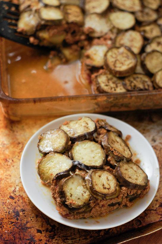 No Noodles Zucchini & Eggplant Lasagna | thumb in plum