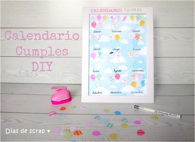 scrap tutorial Calendario de cumpleaños handmade
