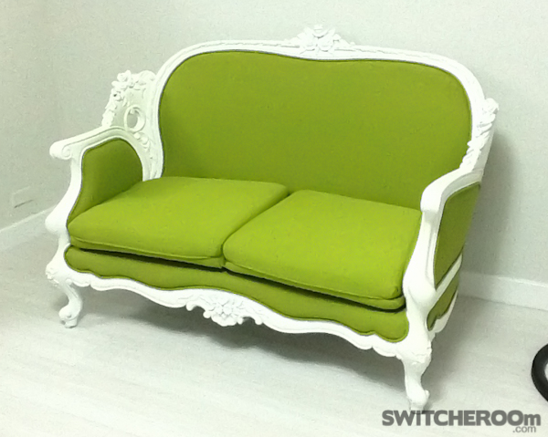 sofa before and after, chair before and after, pink chair, green sofa, french chair, ornate chair, french sofa, ornate sofa