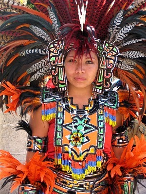 Lady on Aztec Dancer In Mexico