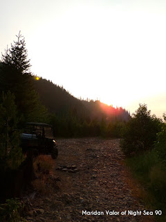 Pictures from the Idaho Mountains; Polaris side-by-side watching the sunset. Night Sea 90.