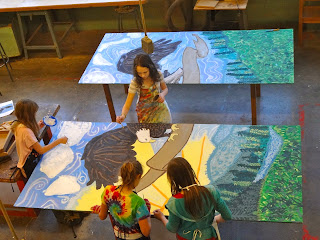 The talking walls mckenzie school mural project for Describe the mural on the ceiling of the stage