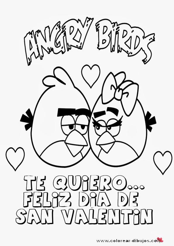 Angry birds de san valentin para colorear | Imagenes de amistad