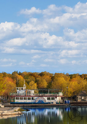 The Island Princess berthed at the town dock in Orillia, Ontario
