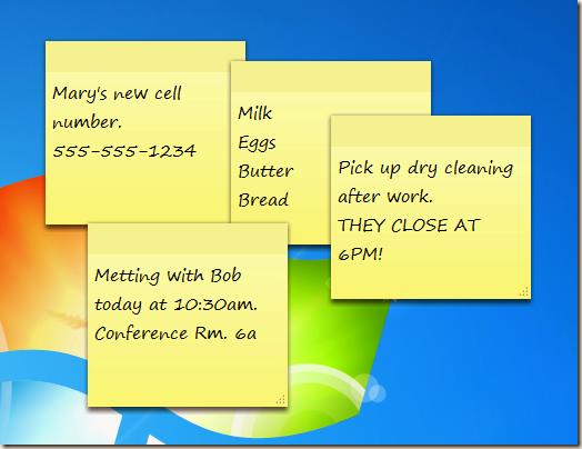 Stick Notes do Windows 7