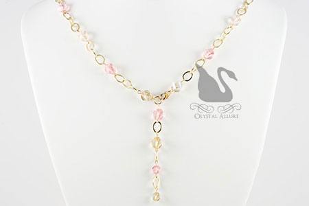 Sandy Beaches Golden Pink Crystal Necklace (N017)