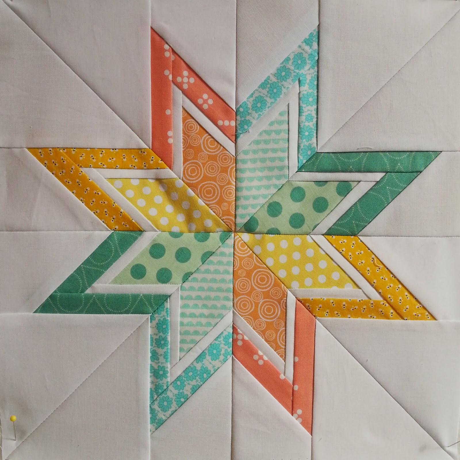 Lone Starburst Paper Pieced Quilt Block