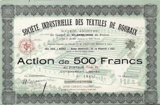a French share in the Société Industrielle des Textiles de Roubaix
