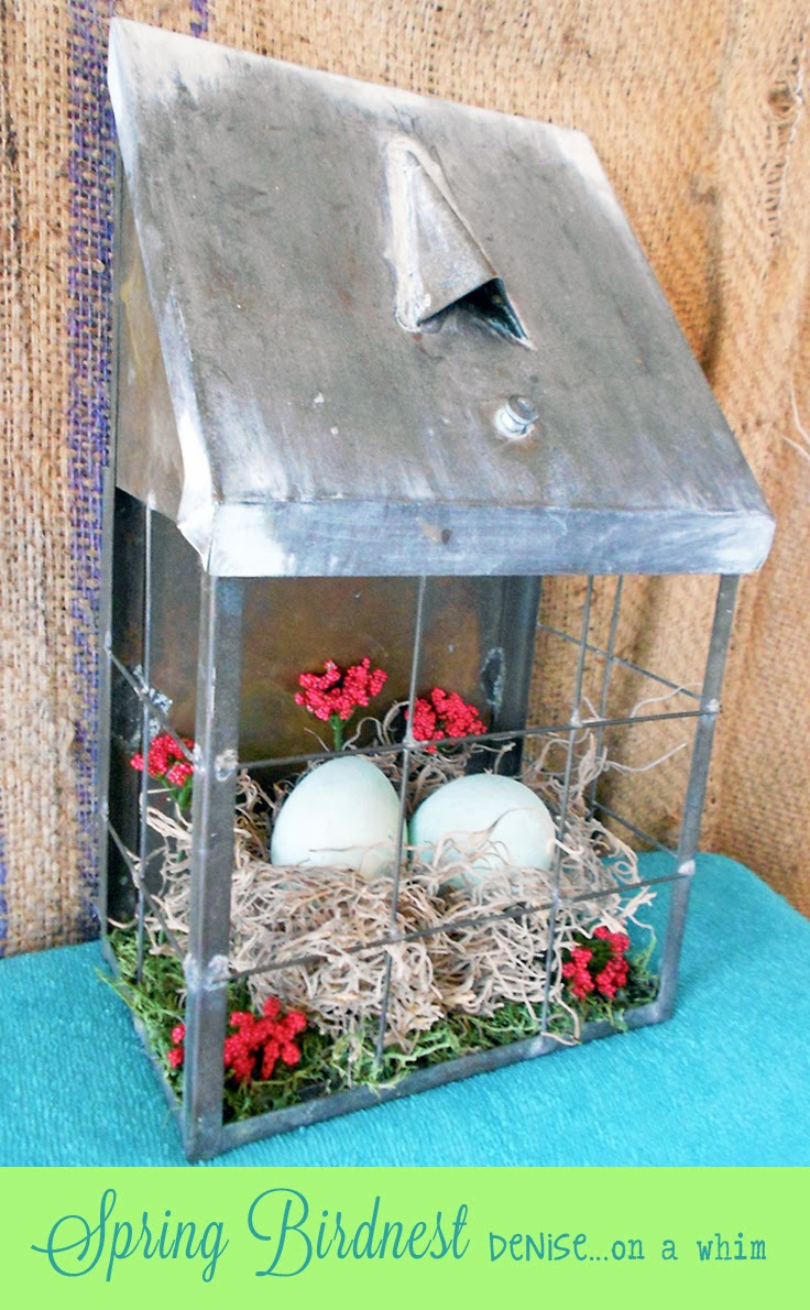 Spring Bird Nest Decor via http://deniseonawhim.blogspot.com
