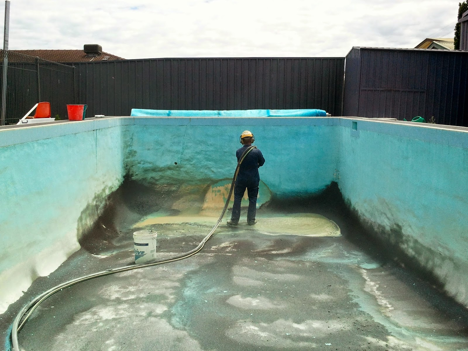 Abrasive blasting is especially effective in removing stains and fungal growth from swimming pools