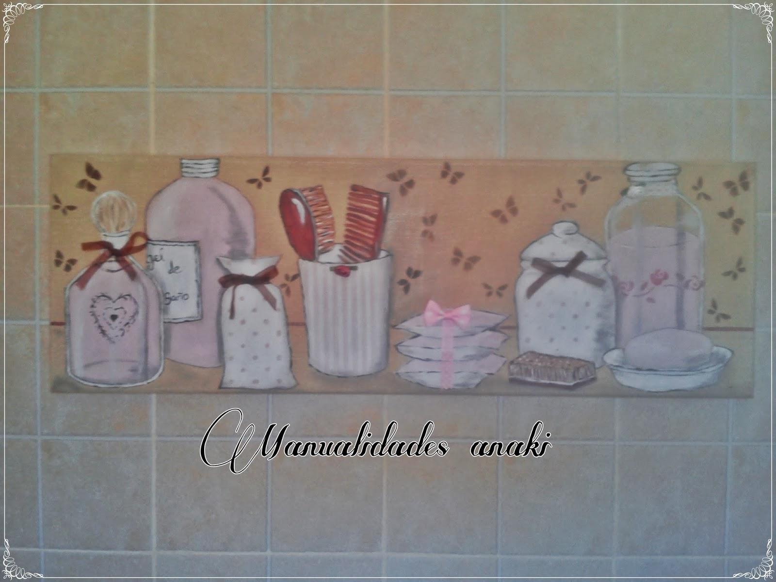 Manualidades anaki cuadro ba o en rosa - Cuadros para cuartos de bano ...
