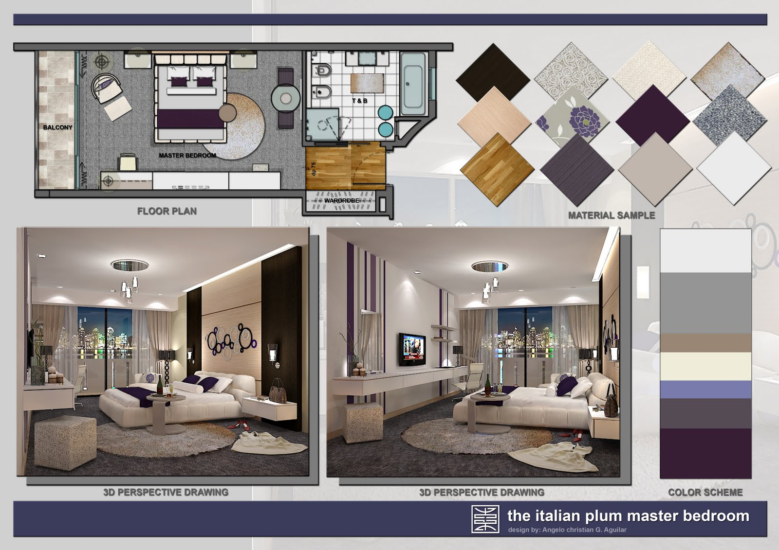 Angelo Aguilar Interior Design Portfolio The Italian Plum Master Bedroom
