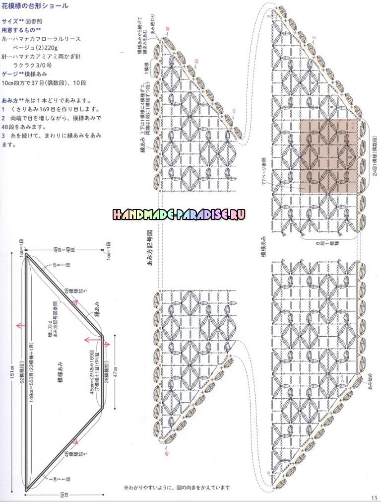 Японский журнал. Вязание крючком шалей, накидок и палантинов