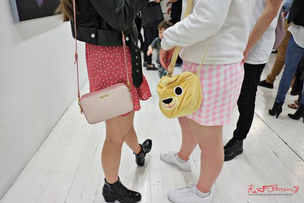 Mui Mui handbag and teddy bear head handbag.. Photographed by Kent Johnson for Street Fashion Sydney.