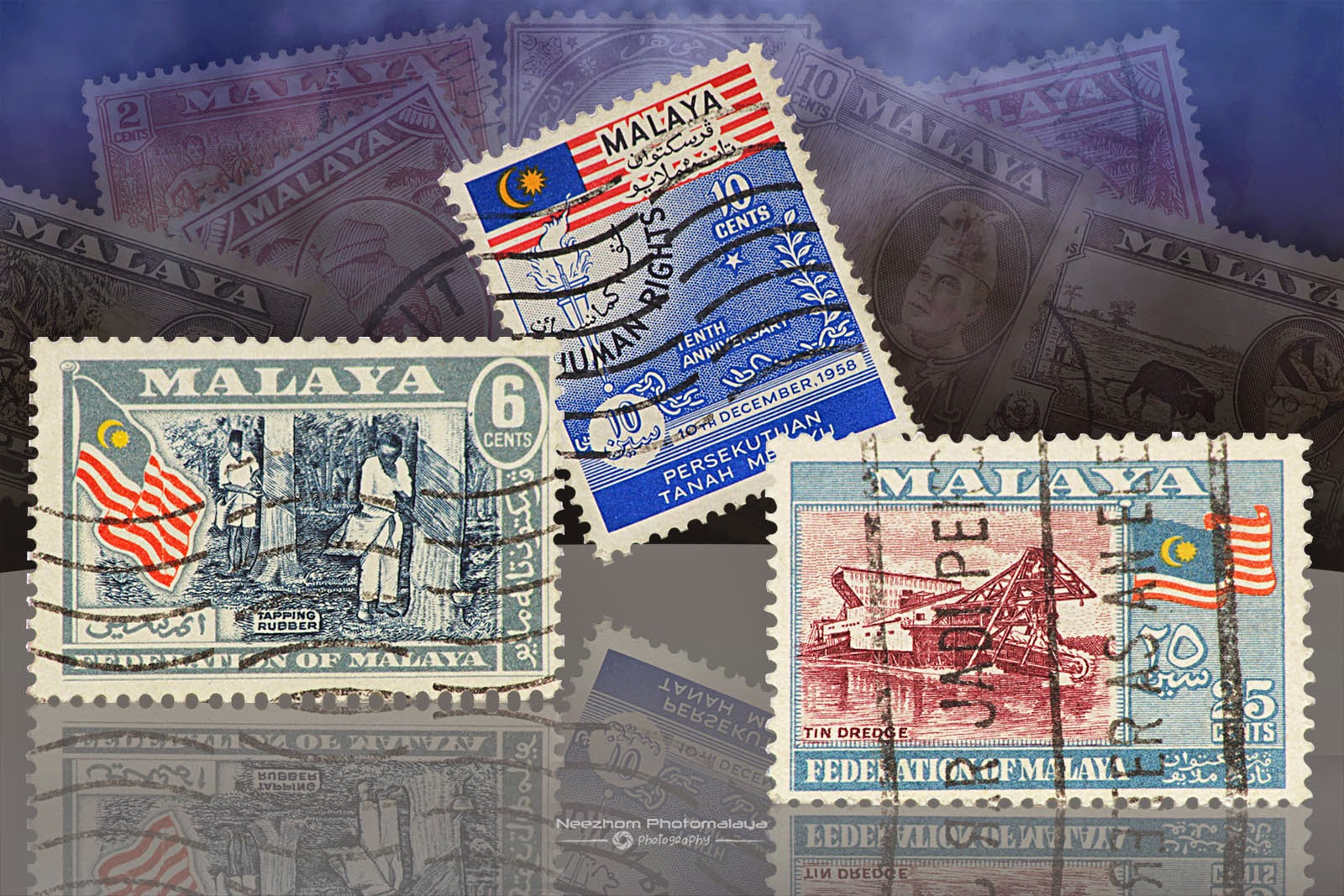 Malaya stamps 6 Cents Tapping rubber, 10 Cents Human Rights Tenth Anniversary 1958, 25 Cents Tin dredge