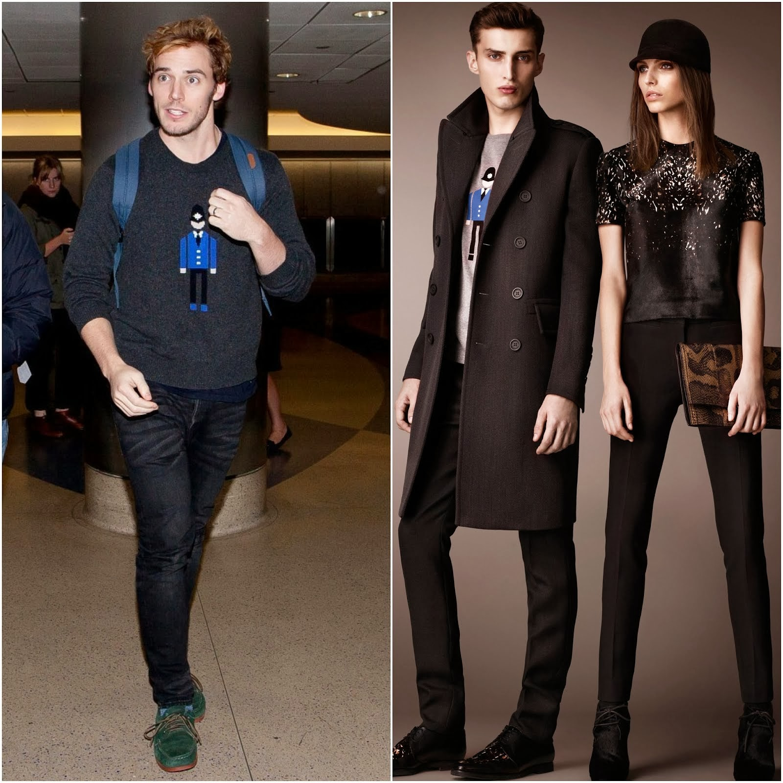 Sam Claflin in Burberry soldier / intarsia cashmere sweater - LAX Airport November 2013