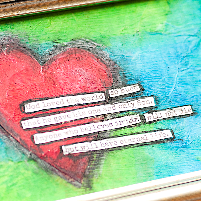 Heather Greenwood | Mixed Media Scripture Wall Art - John 3:16