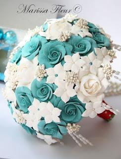 Бирюзовый букет невесты своими руками