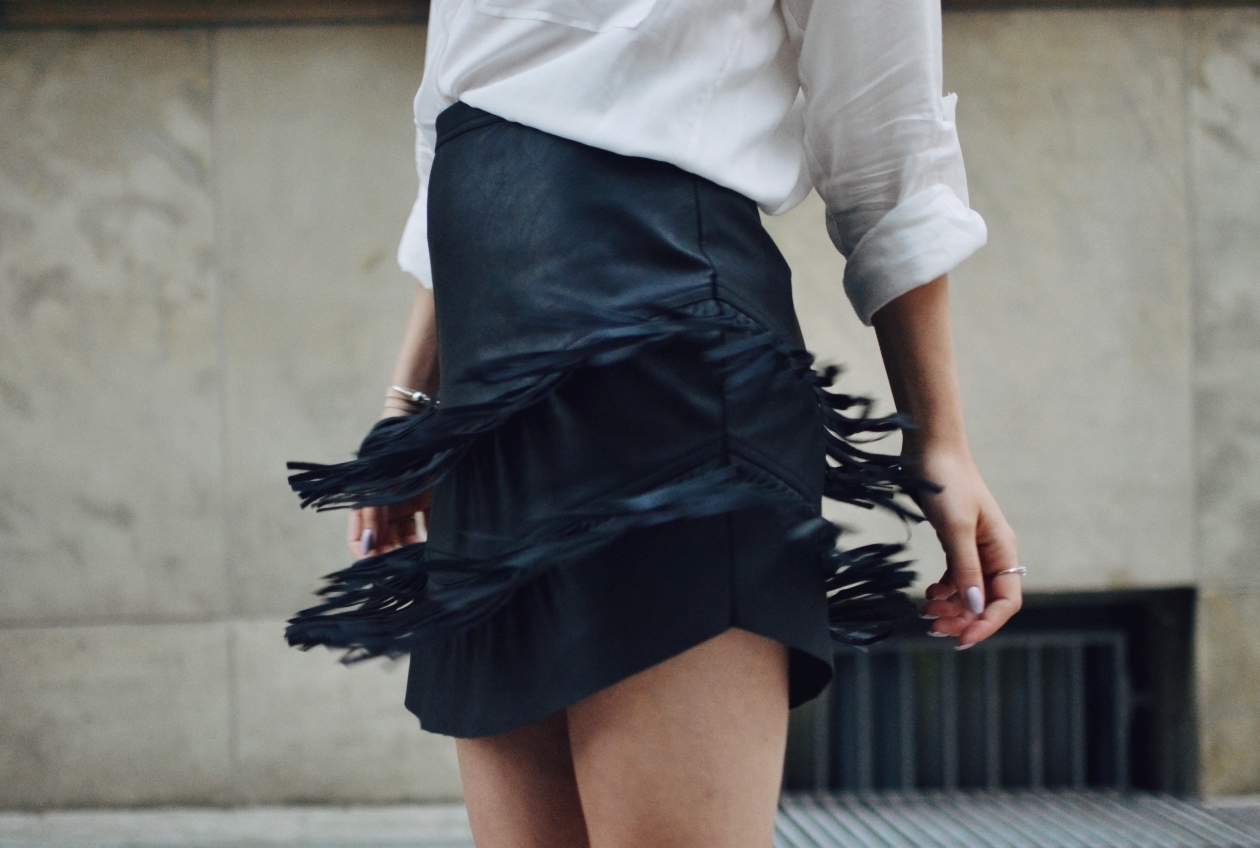 Faux leather fringe skirt, Abercrombie & Fitch, Guildford fashion blogger