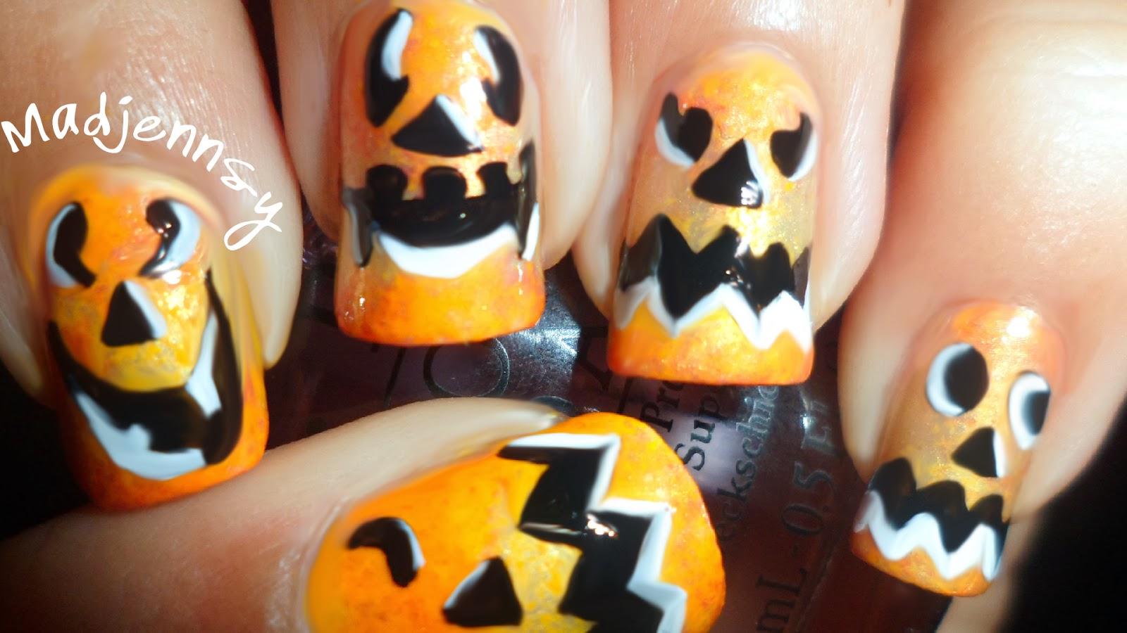 DIY Pumpkin Face ~ Halloween Nail Art Tutorial | Madjennsy Nail Art!
