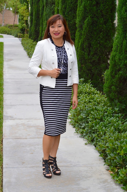 Black and white, leopard and stripes, pattern mixing