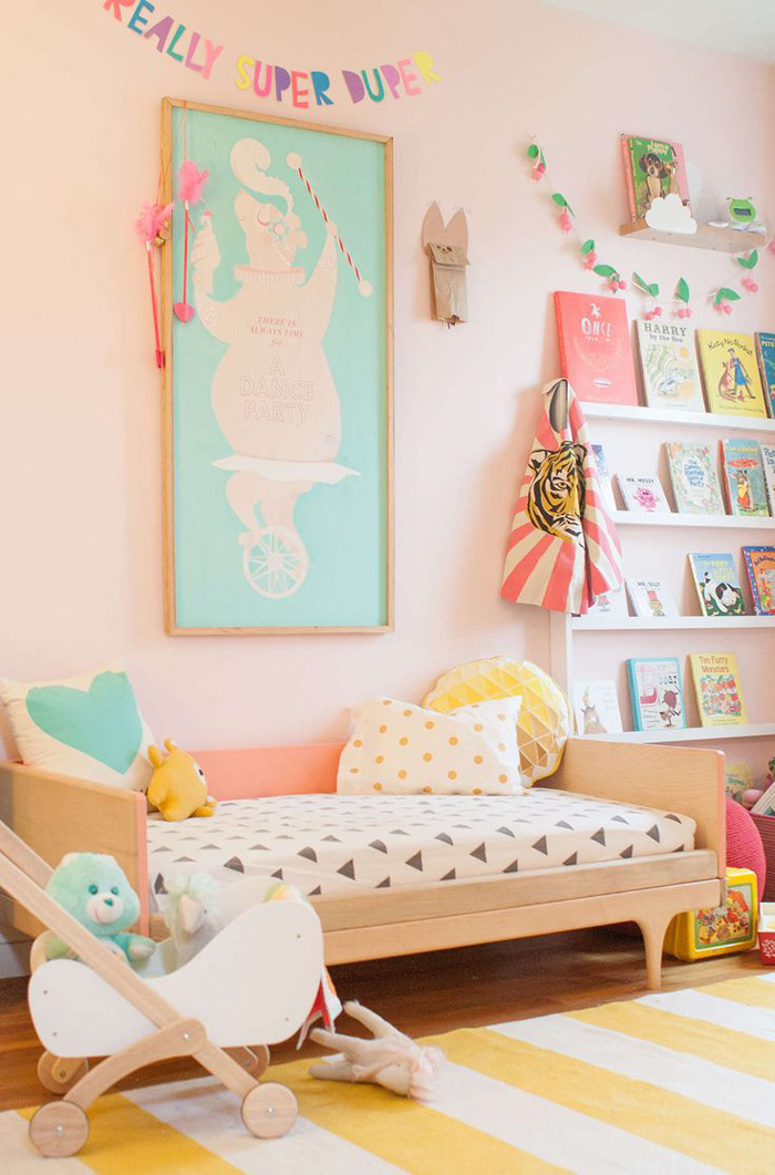 Blush pink in children rooms - colon studio toddler bed