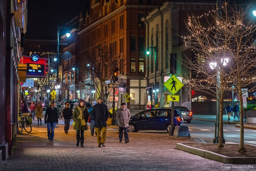 Portland, Maine Downtown Sidewalk at night November 2014 photo by Corey Templeton