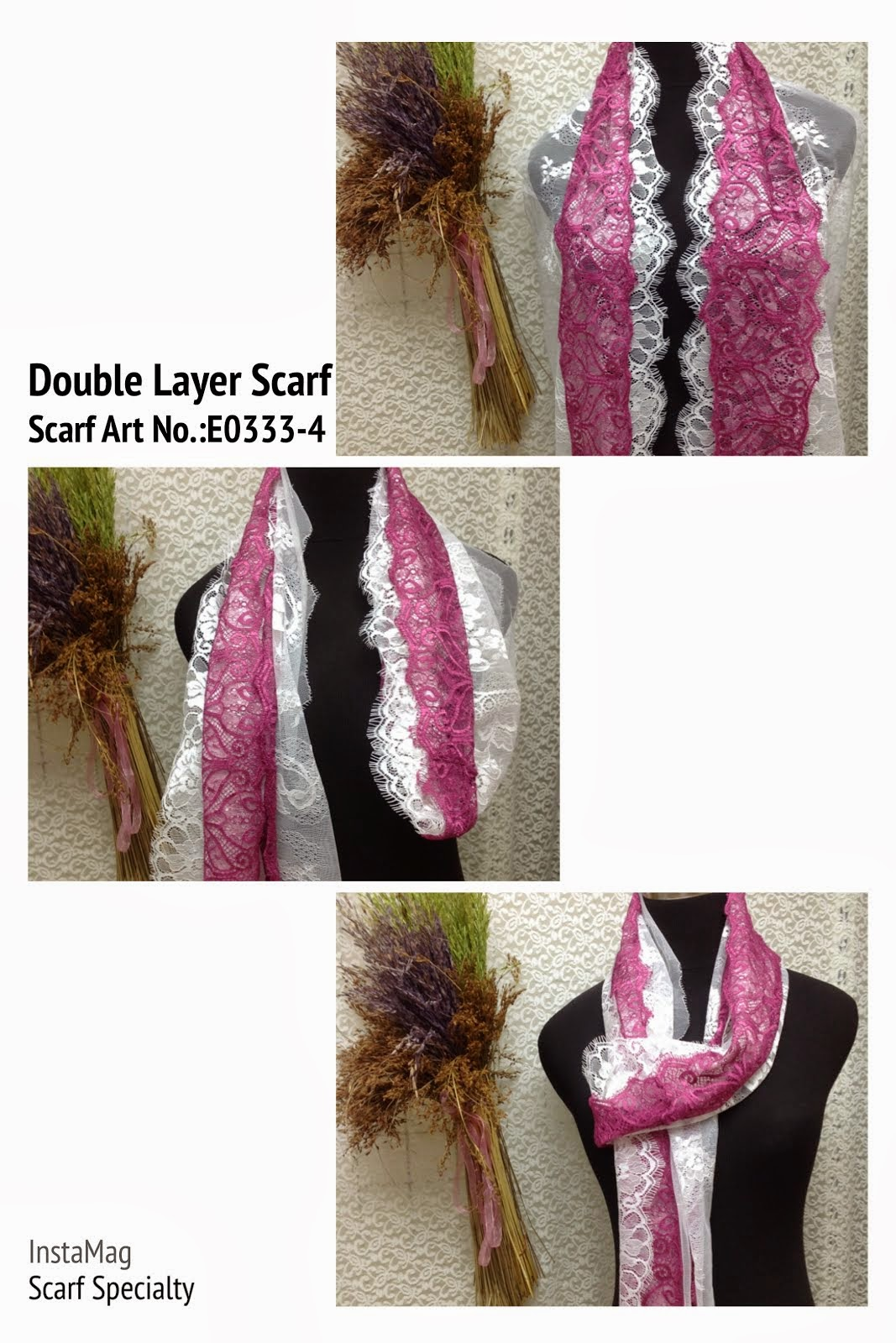 Double Layer Eyelash Lace Scarf