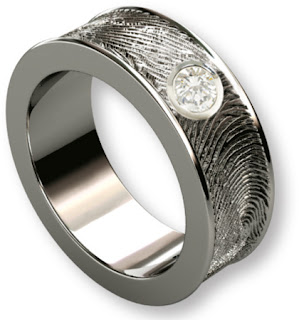 Sterling Fingerprint Wedding Band with Diamond