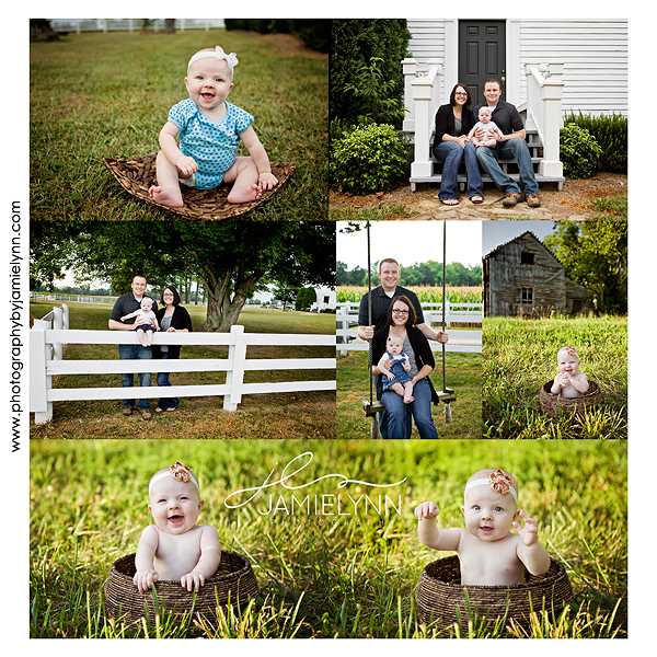 six month old baby girl sitting in a basket in the grass and with her family on the steps