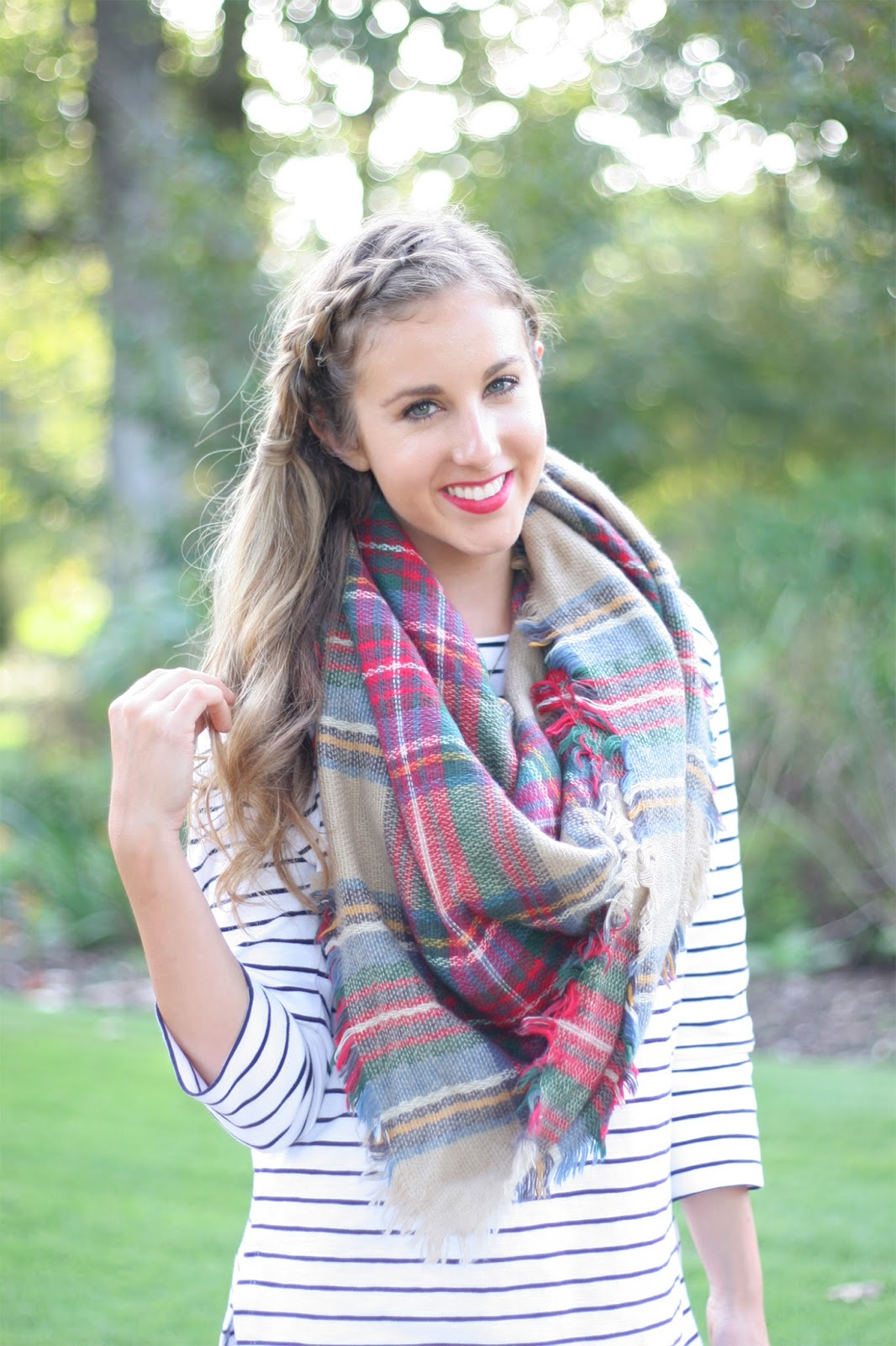 Classic-plaid-blanket-scarf-with-a-striped-top - The-perfect-fall-layers!