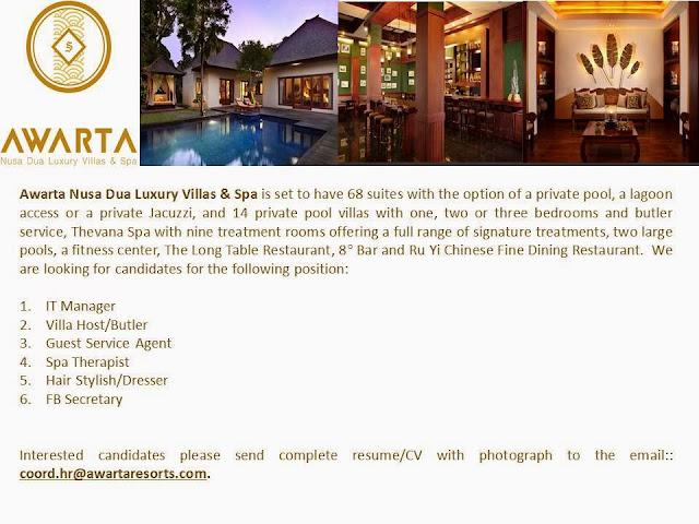 Awarta Nusa Dua Luxury Villas Career Opportunity