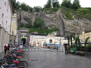 Cliffs and fortification in Old City Salzburg note the tunnel through the cliff