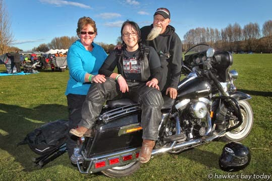 "Sandy Turnwald and Whiskers Turnwald, parents of Morgan Turnwald, 23, a ""Cold Duck Virgin"", all from Shannon, pictured with Whiskers' 1996 Harley-Davidson FLHT ""Bagger"", ready to leave the Cold Duck Rally, at River Park Event Centre, 750 Pourerere Rd, Otane. photograph"